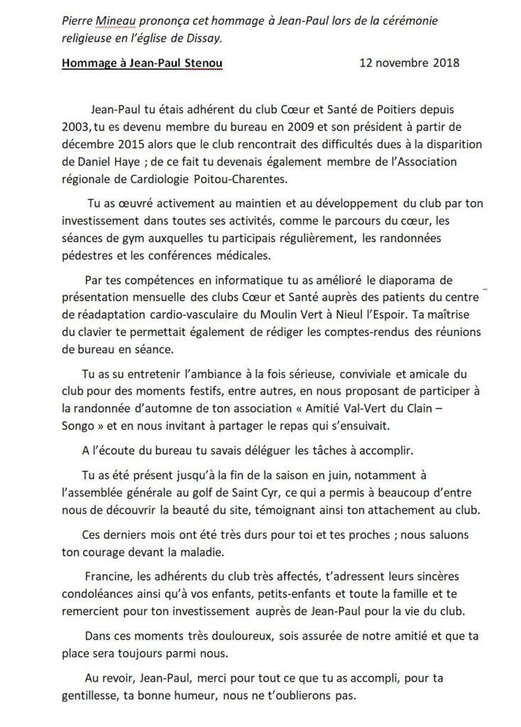 a6316714d2f7a Décès de Jean-Paul Sténou Président de 2015 à 2018 « Club Cœur et ...